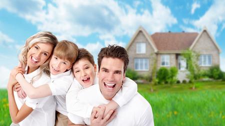 house family: Family near new house.
