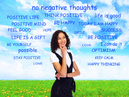 think positive: Positive thinking girl over abstract background.
