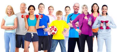 fitness hombres: Grupo de personas de la aptitud. Foto de archivo