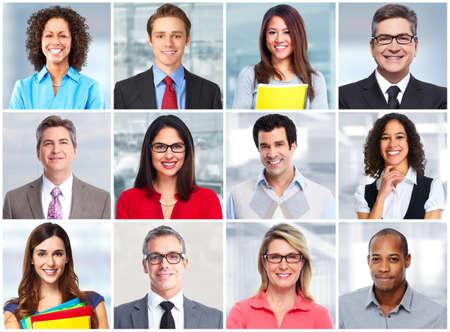collage caras: La gente de negocios se enfrentan. Foto de archivo