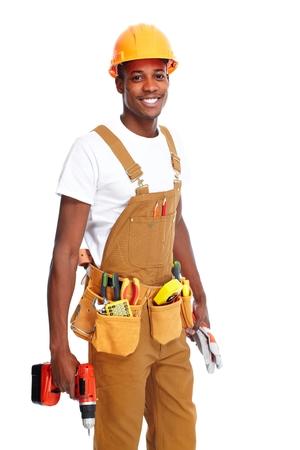 afro american: Handyman isolated white background. Stock Photo