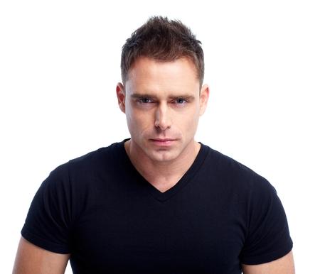 bel homme: Man visage. Banque d'images