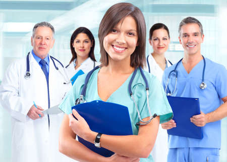 consulting team: Health care medical doctor woman. Stock Photo