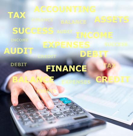 accountancy: Hands of businessman.
