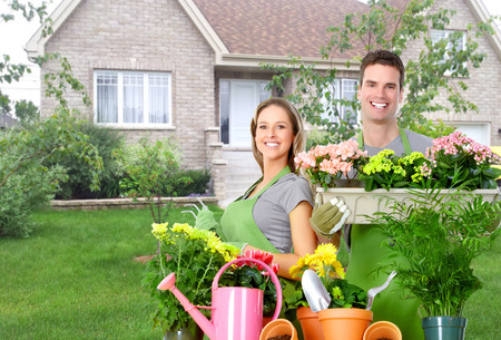 barrow: Gardening people. Stock Photo