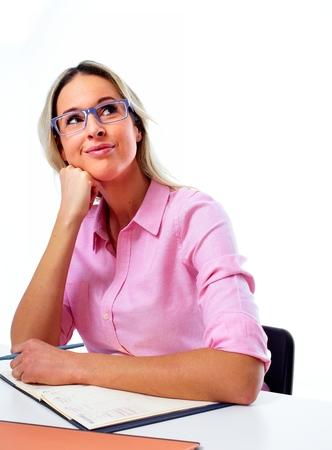 working woman: Woman working in office. Stock Photo