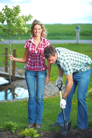 foliar: Gardening people. Stock Photo
