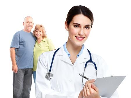 recetas medicas: M�dico de la familia m�dica y los pacientes. Foto de archivo
