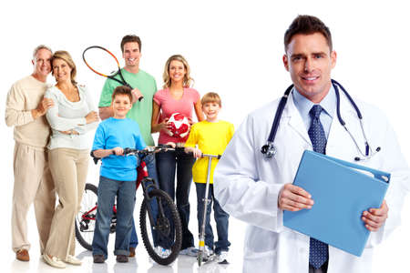 family physician: Medical family doctor and patients. Stock Photo