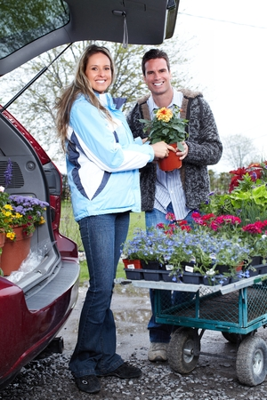 foliar: Florist working with flowers in greenhouse.