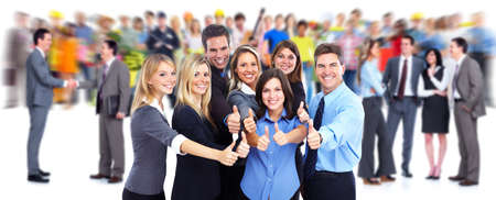 Happy business people group.