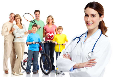 family doctor: Medical family doctor and patients. Stock Photo