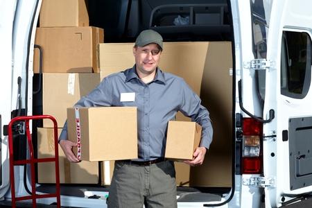 postman: Postman with parcel box.