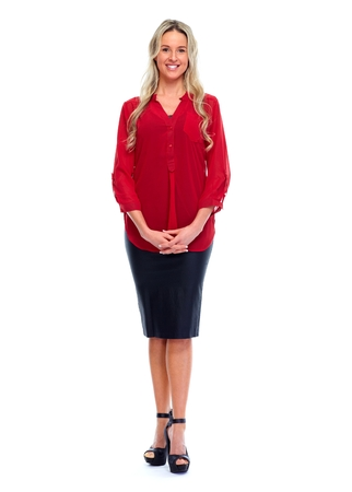 blouse: Woman in red blouse. Stock Photo