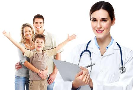grupo de mdicos: M�dico de la familia m�dica y los pacientes. Foto de archivo