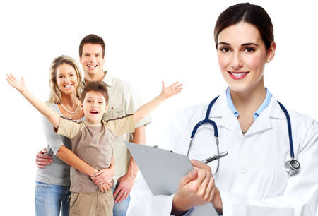 medical doctors: Medical family doctor and patients. Stock Photo