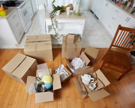 tableware life: Moving boxes in new house.