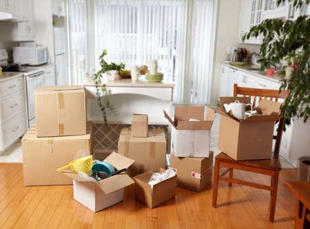 trasloco: Trasferirsi caselle nella nuova casa. Archivio Fotografico
