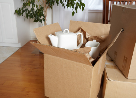 packing: Moving boxes in new house.