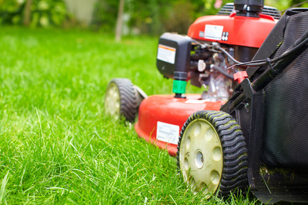 mowing grass: Lawn mower. Stock Photo