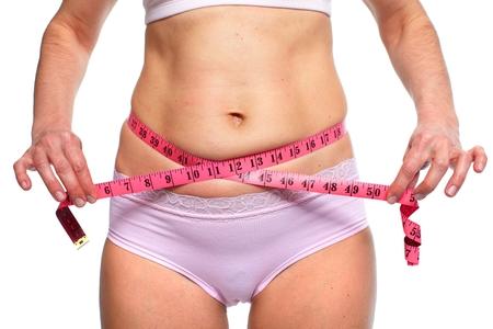 woman measuring: Woman measuring fat abdomen.