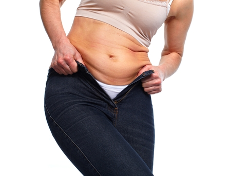loose skin: Woman with fat belly. Stock Photo
