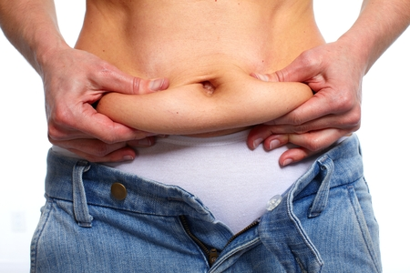 corpulent: Woman with fat belly. Stock Photo