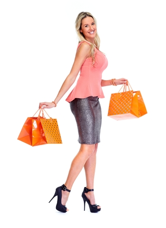 sell out: Beautiful woman with shopping bags.