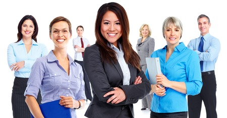Woman and group of business people.