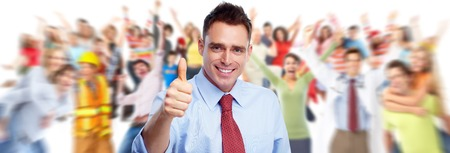 Happy businessman and group of people.