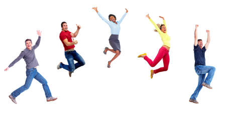 personas felices: Grupo de gente saltando feliz.