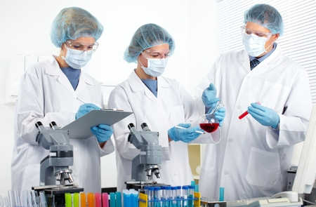medical doctors: Group of medical doctors in laboratory.