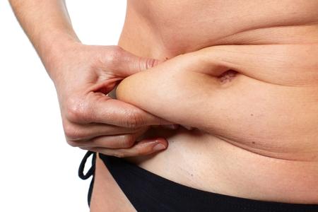 mujeres gordas: Mujer de vientre grasa.