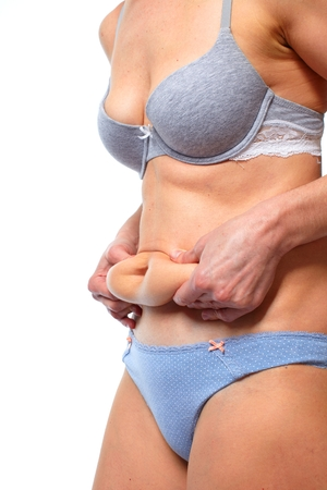 corpulent: Woman fat belly. Overweight and weight loss concept.