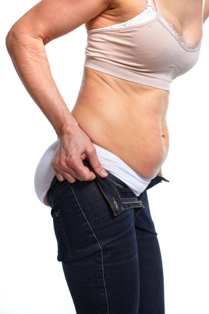 Woman with fat belly. Stock Photo