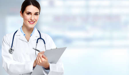 consultation: Medical physician doctor  woman over blue clinic background.