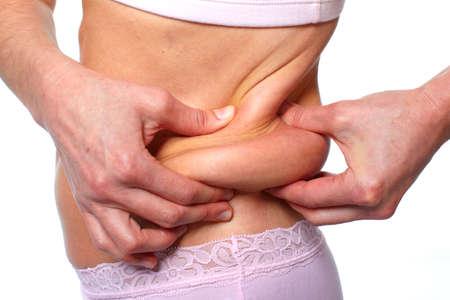 obesidad: Mujer grasa del vientre. La dieta y el concepto de pérdida de peso.