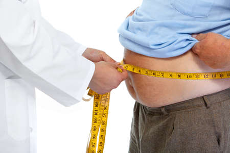fat people: Doctor measuring obese man waist body fat. Obesity and weight loss.