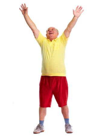 gente bailando: Feliz alegre baile anciano y saltando aislado fondo blanco.
