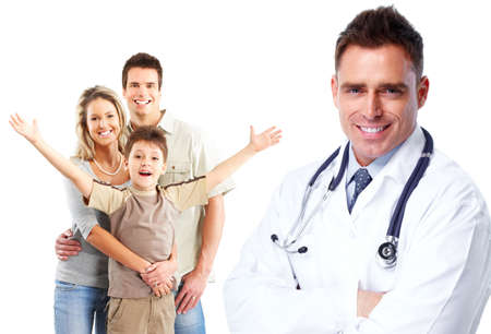 family physician: Medical family doctor and patients. Isolated white background.