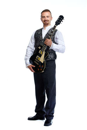 bard: Young singer man with guitar isolated white background