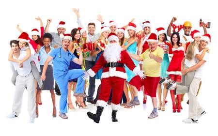 grupo de personas: Aislado fondo blanco grupo de gente alegre feliz. Foto de archivo
