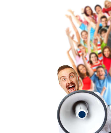 loudhailer: Young man talking in loud-hailer and group of happy people. Stock Photo