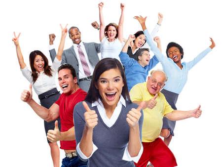 jovenes felices: Aislado fondo blanco grupo de gente alegre feliz. Foto de archivo