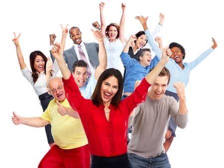 幸せなうれしそうな人は、隔離された白い背景をグループ化します。