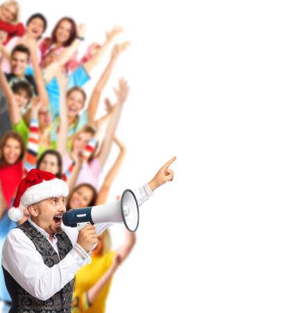loudhailer: Santa man talking in loud-hailer and group of happy people.