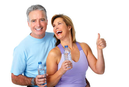 weight loss man: Healthy fitness elderly couple. Sport and exercise concept.