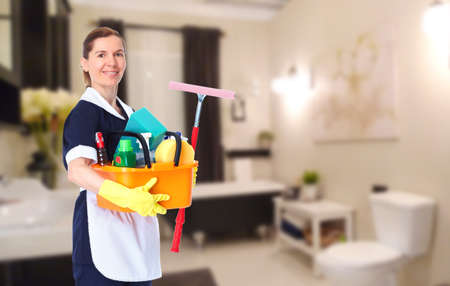 cleaning service: Young smiling maid. House cleaning service concept.