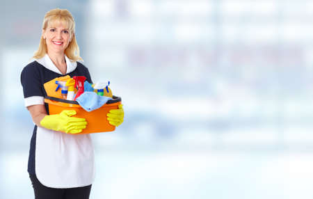 house cleaner: Young smiling maid. House cleaning service concept.