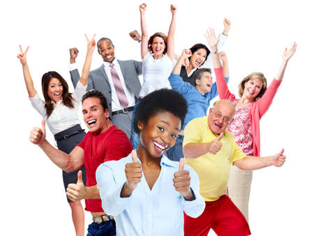 emberek: Boldog örömteli népcsoport elszigetelt fehér háttérrel.